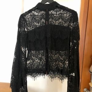 High Neck Black Lace Shirt with Flare Arms